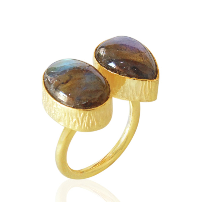 18kt Yellow Gold Plated Labradorite Dainty Adjustable Ring