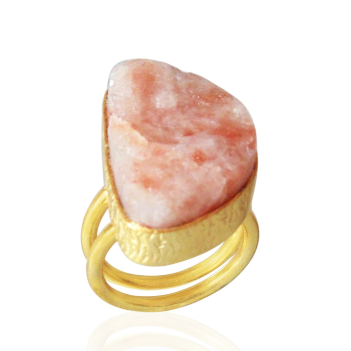 18kt Yellow Gold Plated Raw Sunstone Double Stacking Ring