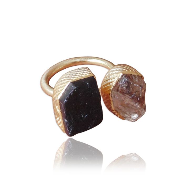 18kt Gold Plated Everyday Wear Raw Herkimer Diamond & Black Tourmaline Dual Stacking Ring