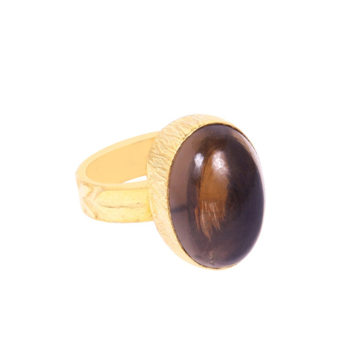 18kt Yellow Gold Plated Oval Smoky Quartz Stackable Ring