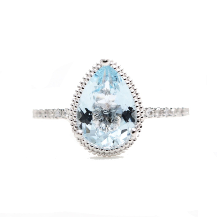 14kt Gold Solitaire Natural Pear Aquamarine Bead Engagement Ring