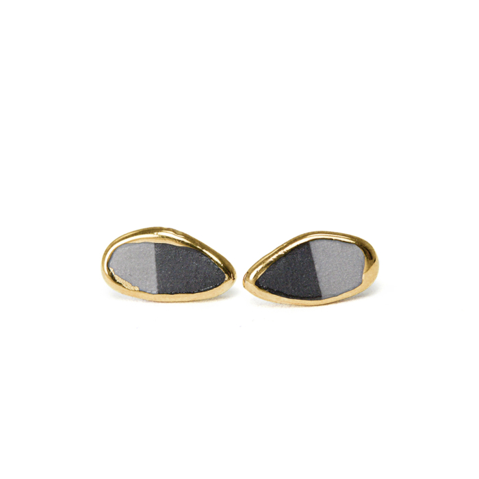 Black & Grey Porcelain Earrings with Gold