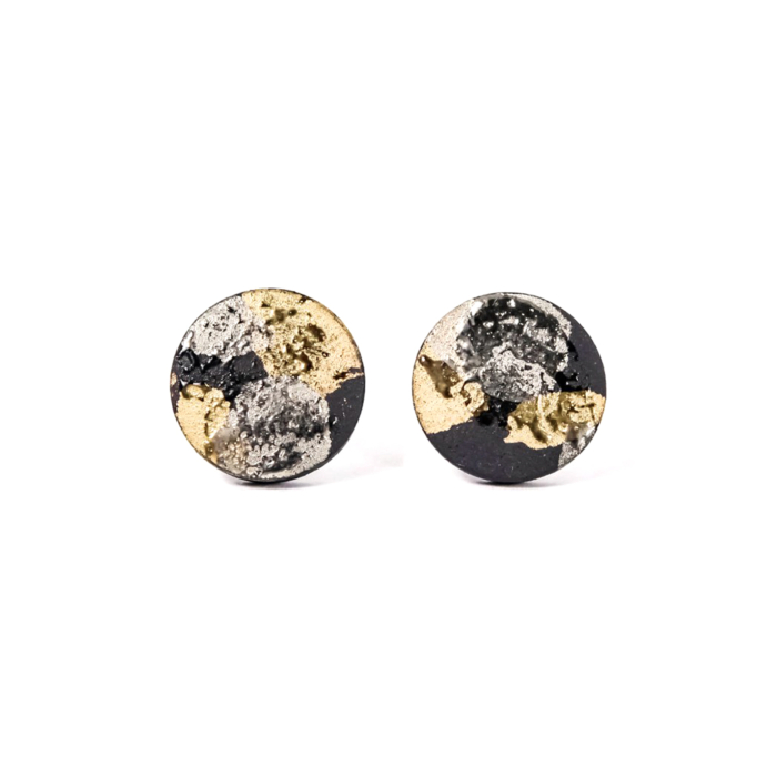 Round Porcelain Earrings with Gold & Platinum