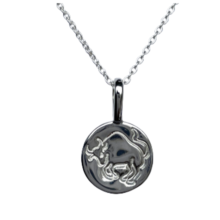 Sterling Silver Taurus Zodiac Sign Charm Necklace