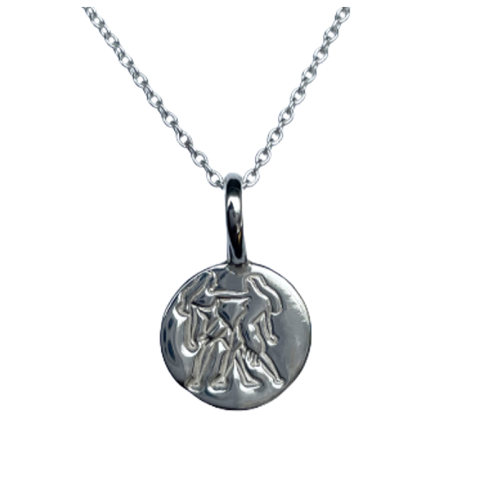 Sterling Silver Gemini Zodiac Sign Charm Necklace