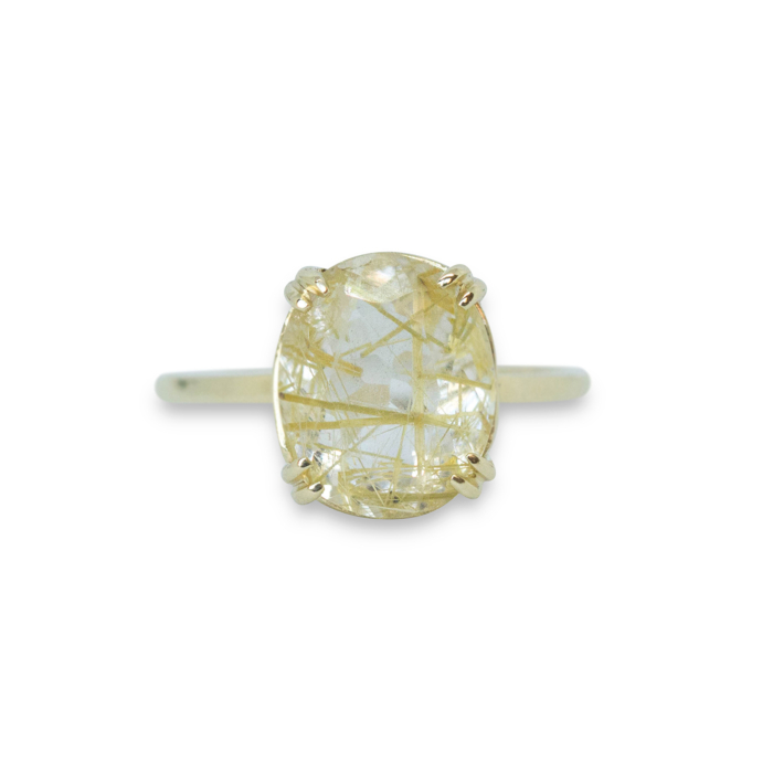 14kt Yellow Gold Rutilated Quartz Solitaire Ring