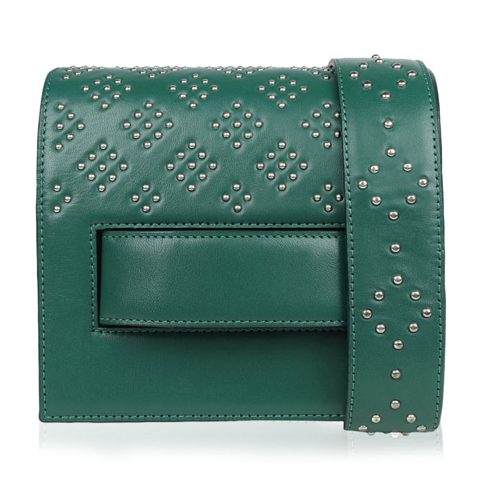 Green Leather Accordion Bag