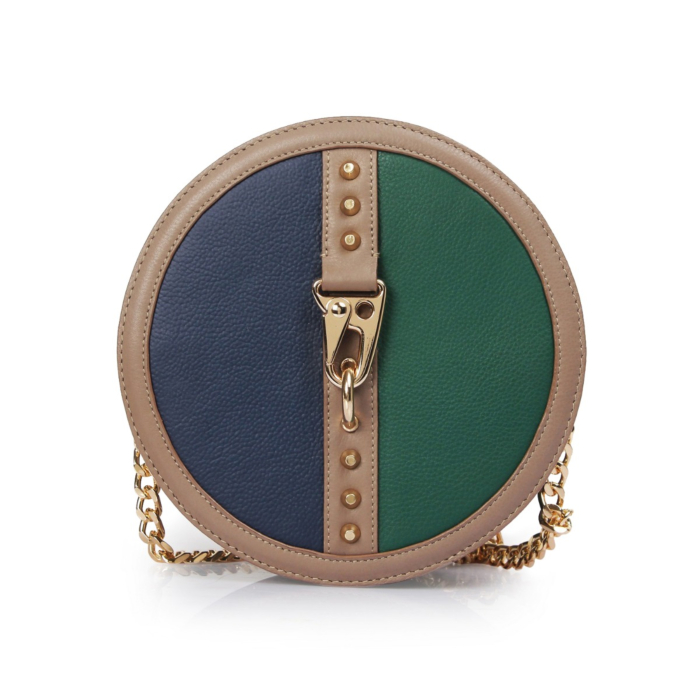 Green-Navy Leather Hoop