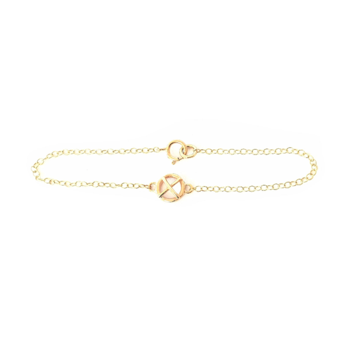 9kt Yellow Gold Kiss Hug One Small Component Bracelet