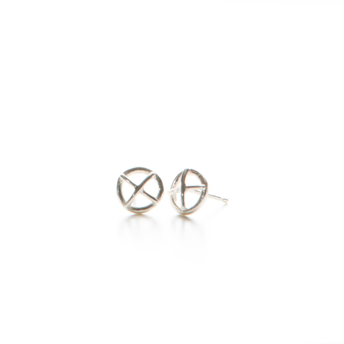 Sterling Silver Small Kiss Hug Stud Earrings