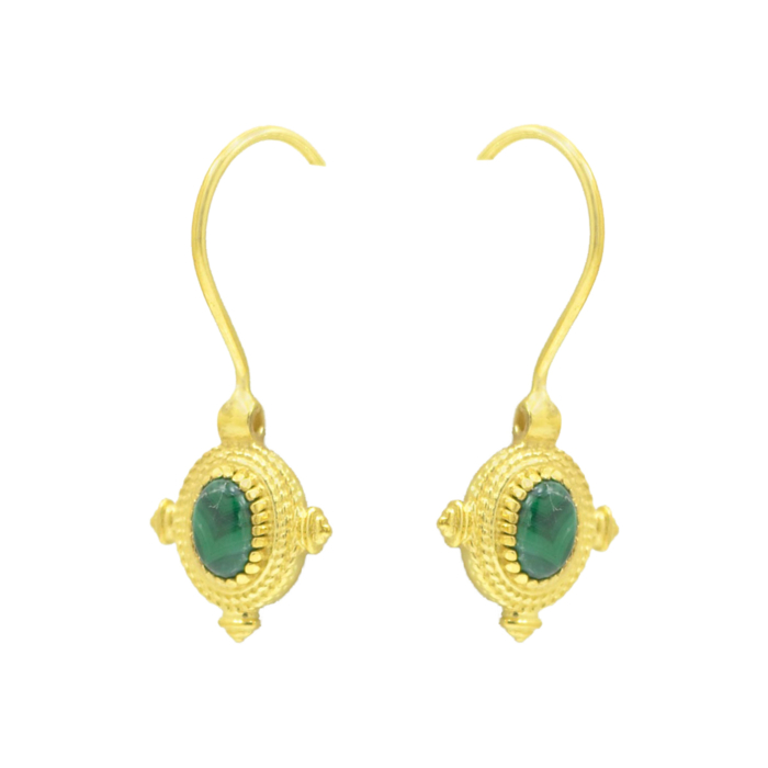 Malachite Gold Plated Earrings