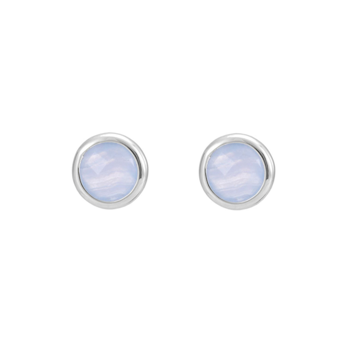 Sterling Silver Sophina Round Gemstone Stud Earrings with Blue Lace Agate