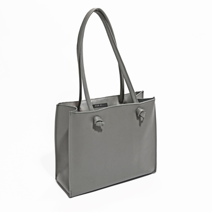 Small Leather Tote Bag   Grey 'Grocery Bag'