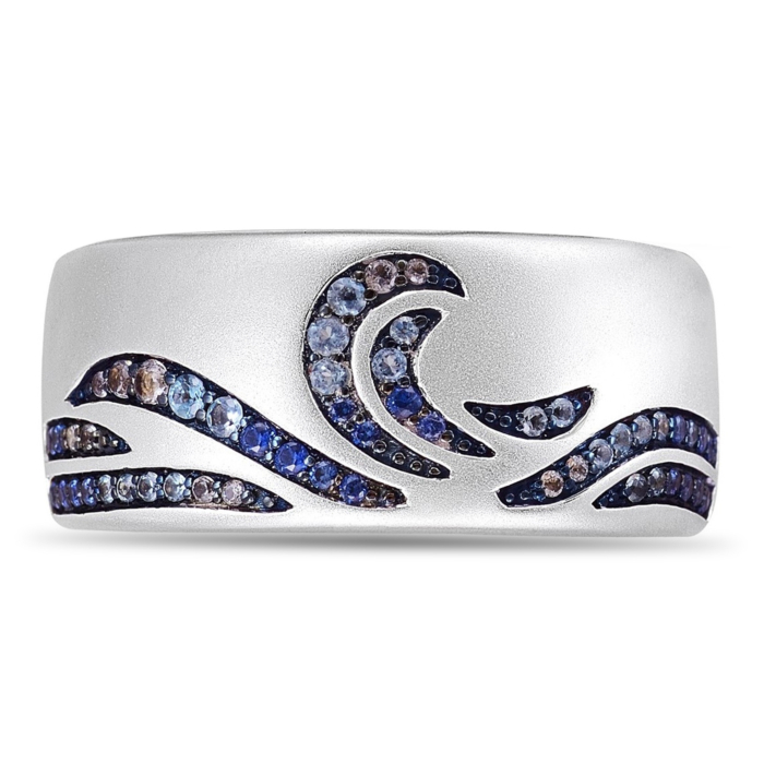 Rhodium Plated Silver Surf's Up Stone Band Ring
