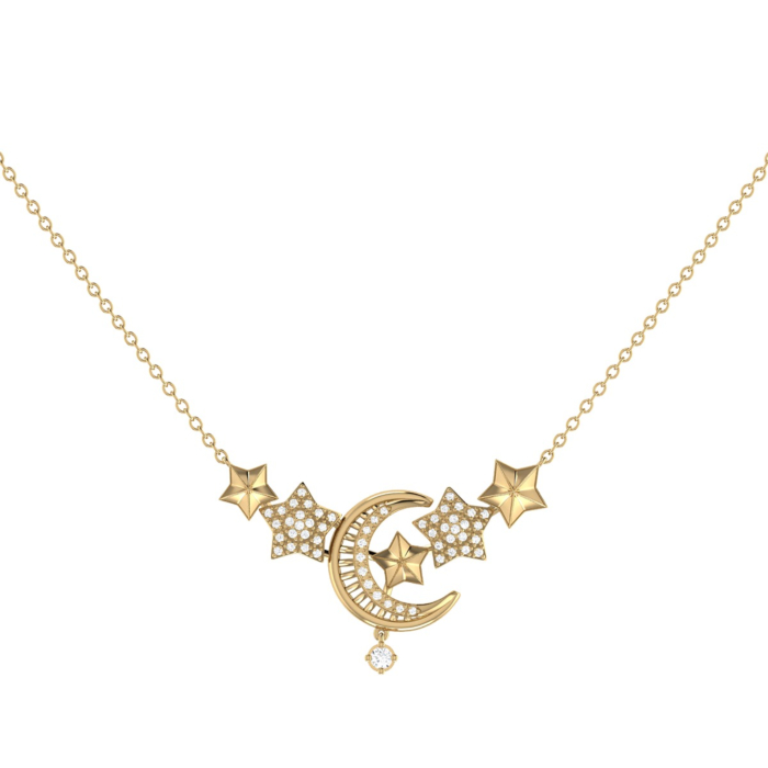 14kt Yellow Gold Plated Silver Star Cluster Crescent Necklace