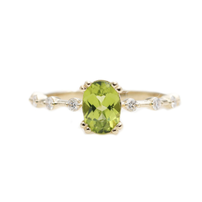 Details about  /1ct Oval Cut Green Peridot 14k Yellow Gold Finish Halo Pretty Engagement Ring