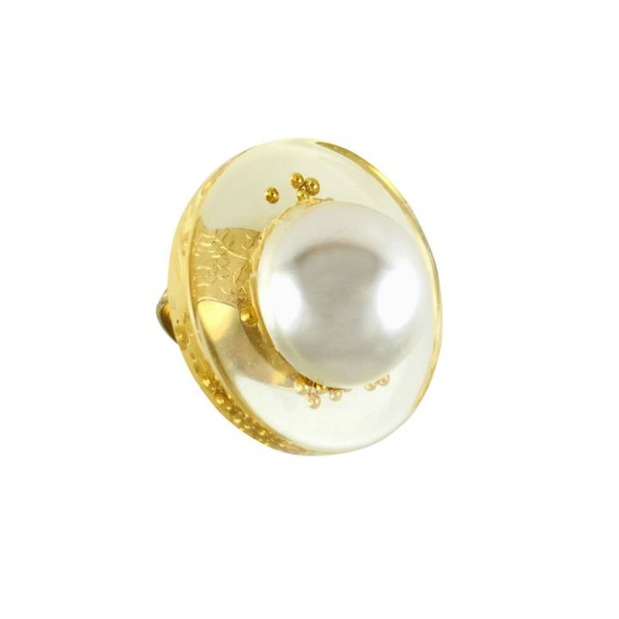 24kt Gold Plated Juno Vintage Lucite Constellation Pearl Adjustable Ring