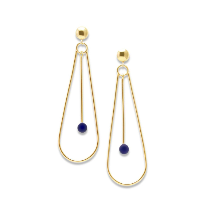 18kt Gold Plated Recycled Silver & Lapis Lazuli Natalia Earrings