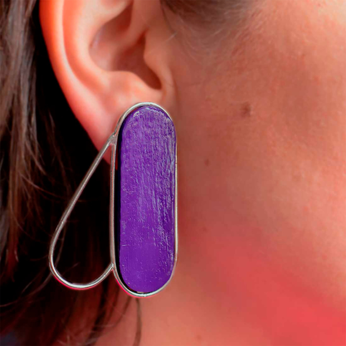 Recycled Sterling Silver Pteron Earrings | Purple