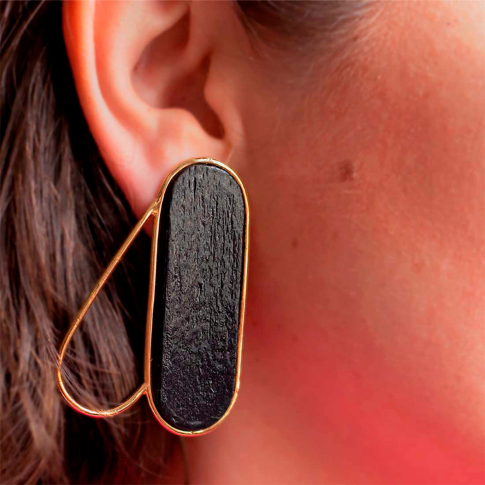 18kt Gold Plated Recycled Silver Pteron Earrings | Black