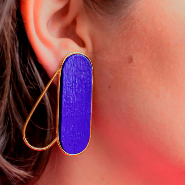 18kt Gold Plated Recycled Silver Pteron Earrings   Blue