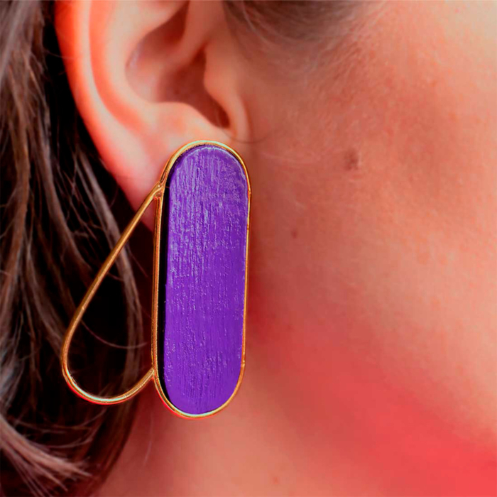 18kt Gold Plated Recycled Silver Pteron Earrings | Purple