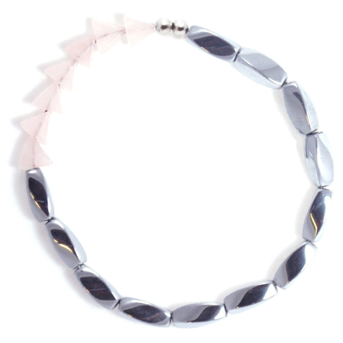 Lucid Waters Bracelet with Rose Quartz and Hematine
