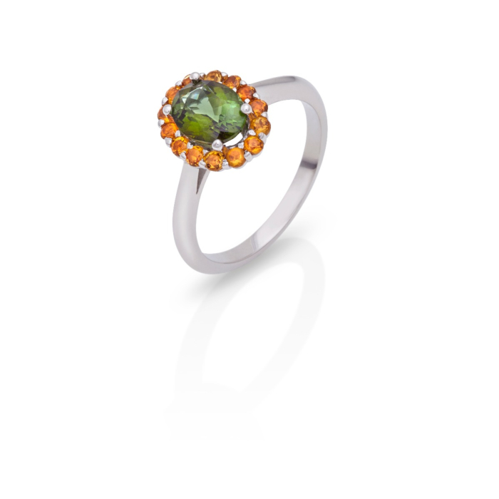 18kt White Gold Green Tourmaline & Citrine Protection Ring