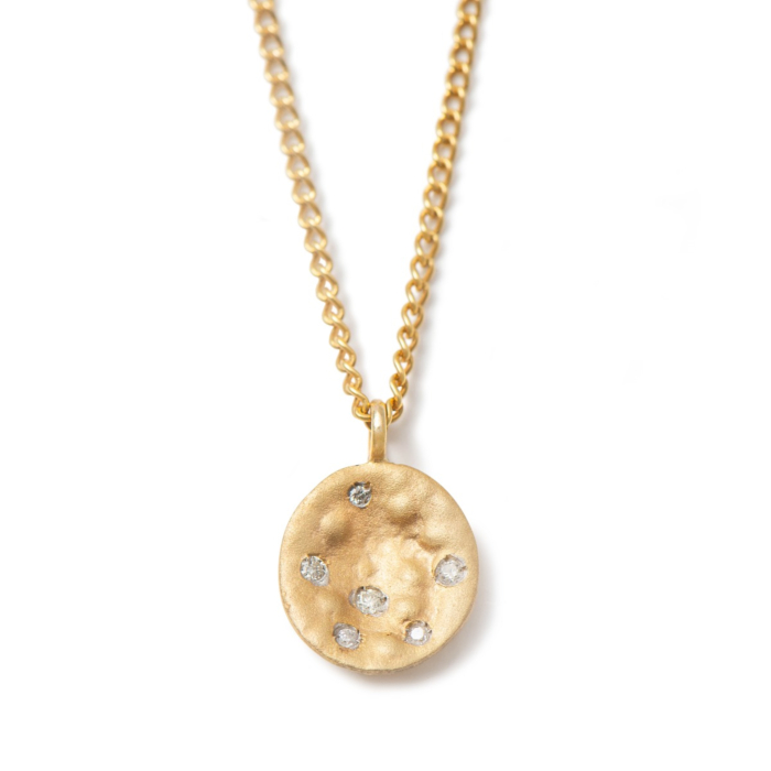 9kt Yellow Gold Necklace With Small Disc & Diamonds