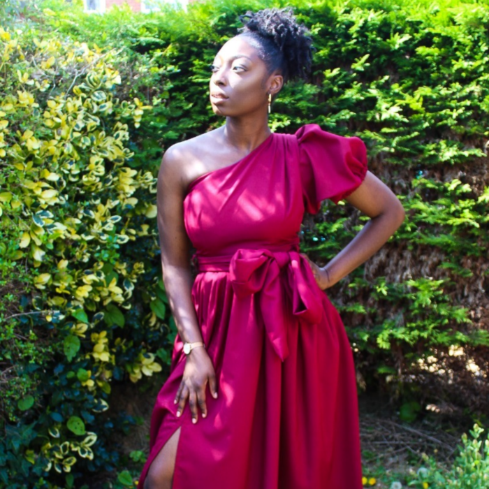 Burgundy One Hand Gown