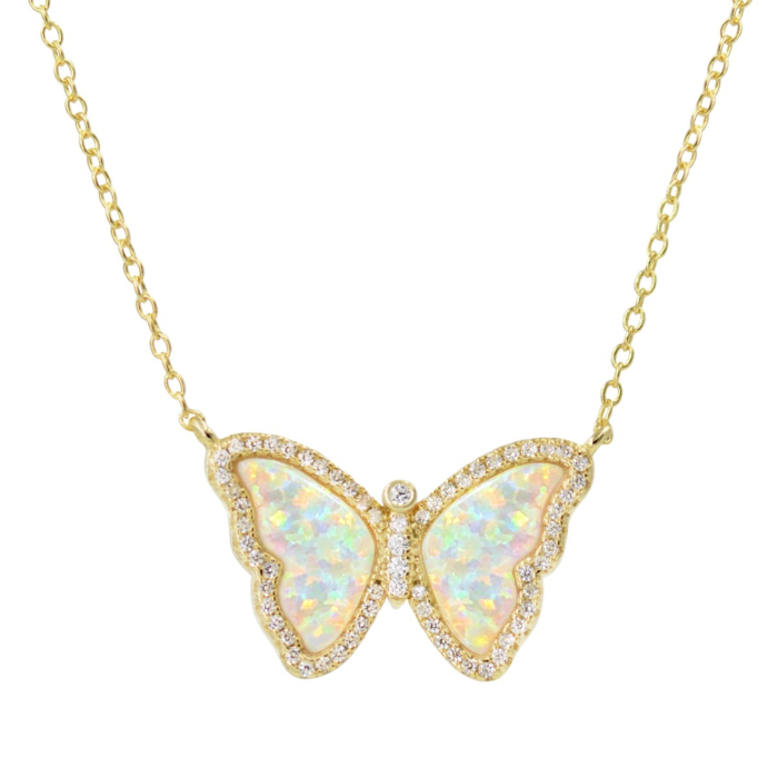 Gold Plated Opal Butterfly Necklace With Crystals in White Opal