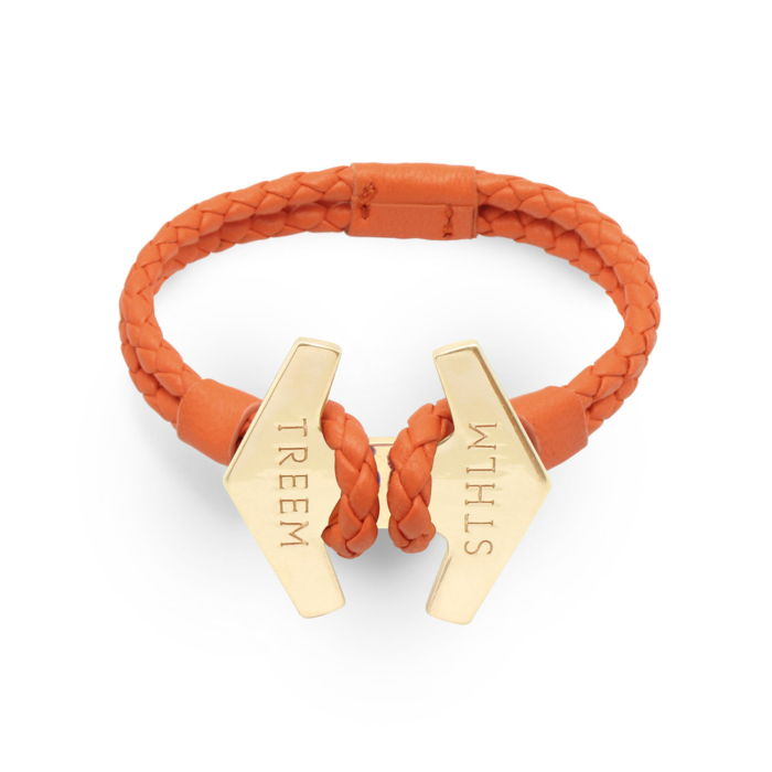 Orange Leather & Rose Gold Stark Bracelet