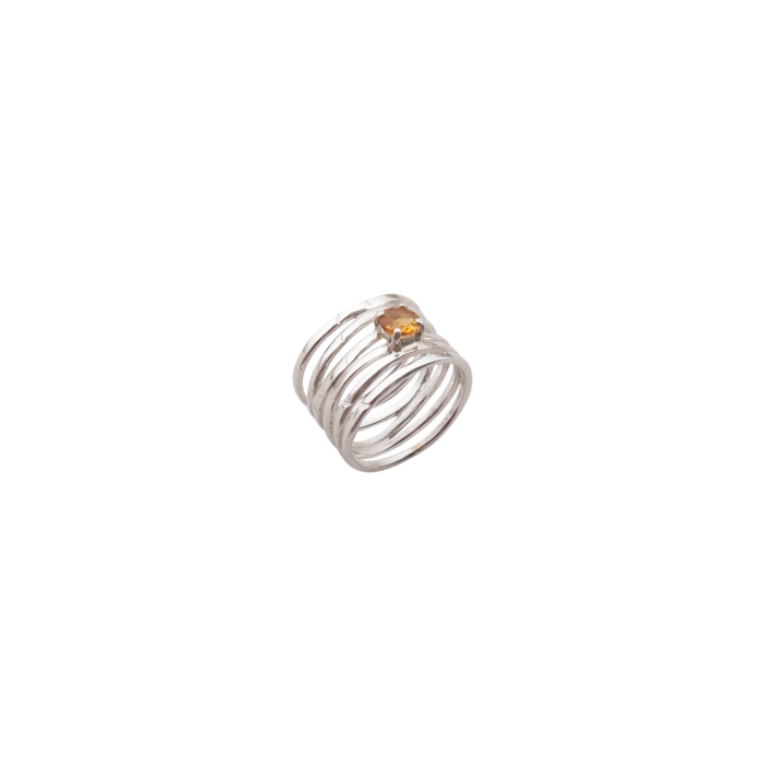 Sterling Silver & Yellow Citrine Wave Ring