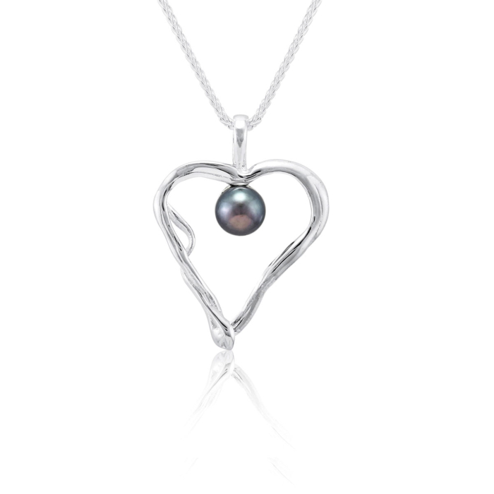 Sterling Silver & Peacock Pearl Quirky Heart Pendant Necklace