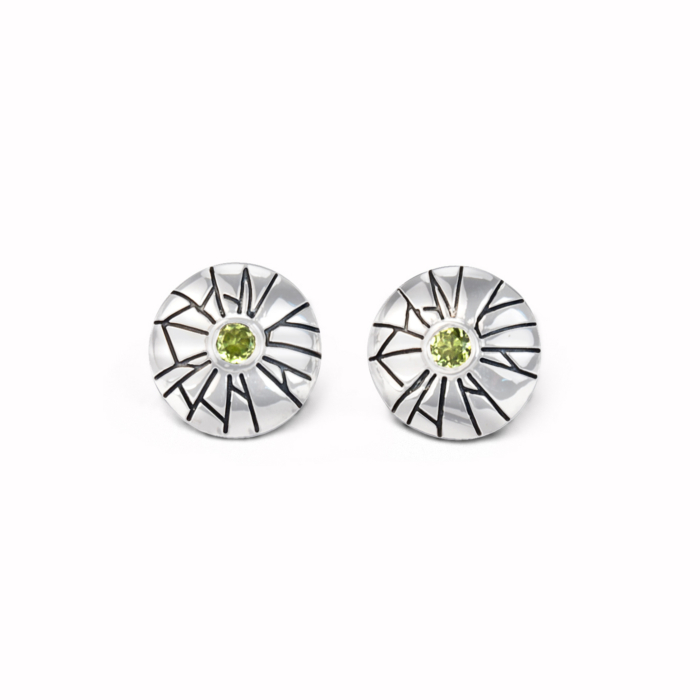 Sterling Silver & Peridot Mini Shattered Time Earrings