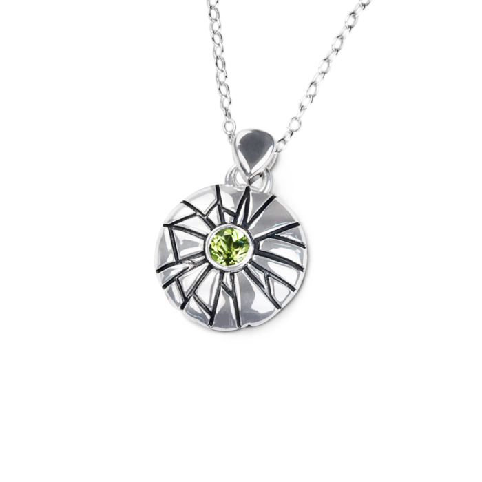 Sterling Silver & Peridot Mini Shattered Time Pendant