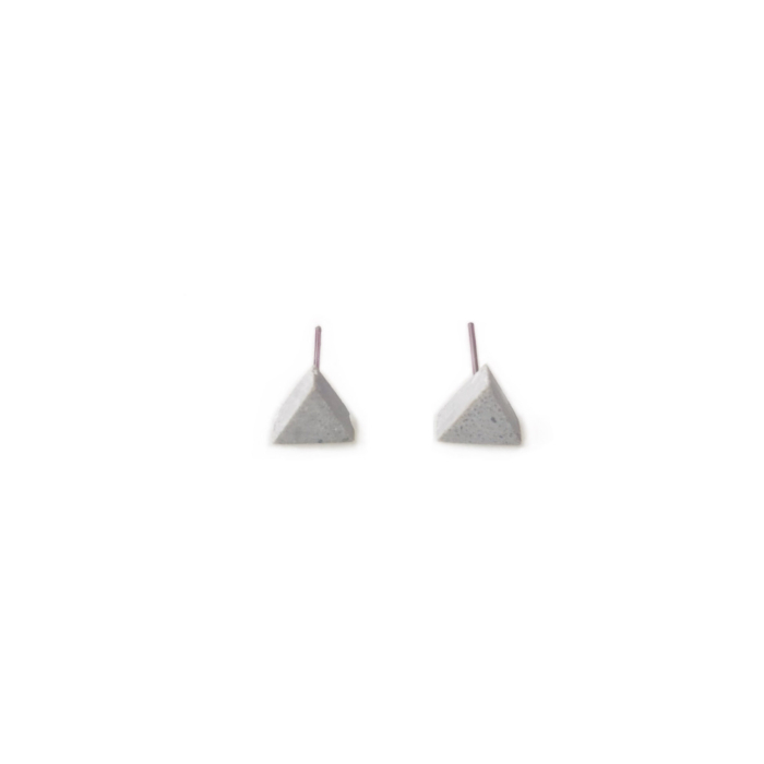Concrete Unisex Small Triangle Stud Earrings