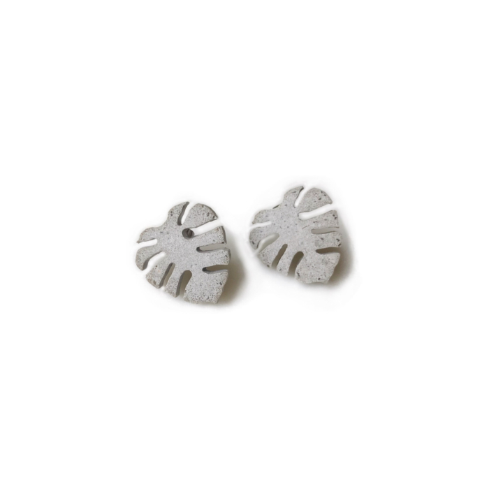 Concrete Monstera Leaf Stud Earrings