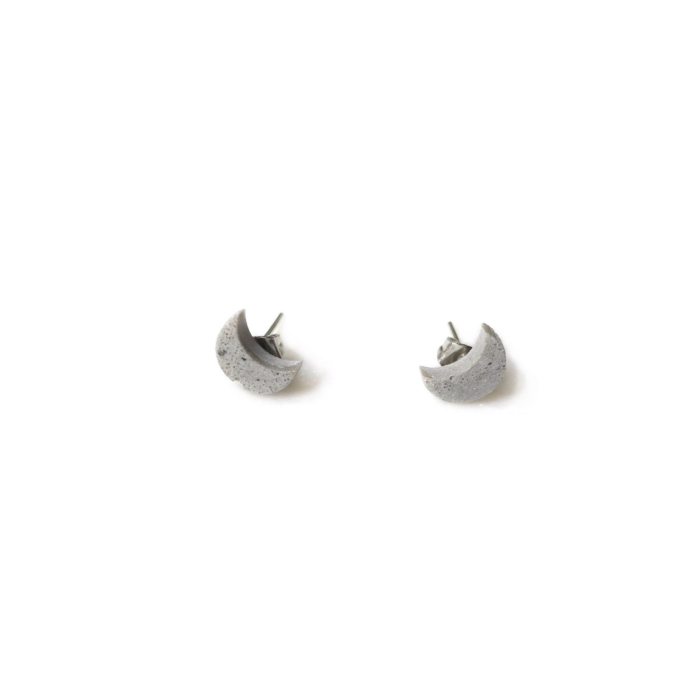 Concrete Unisex Crescent Moon Shaped Stud Earrings