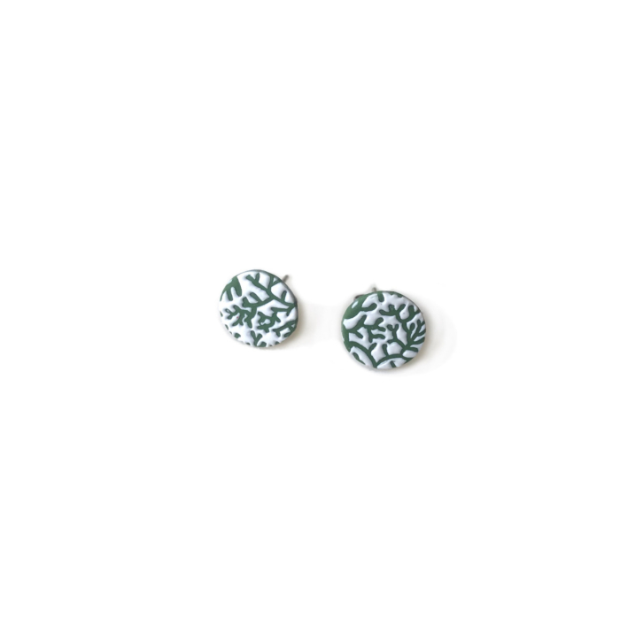 Stainless Steel Green & White Leaf Textured Stud Earrings