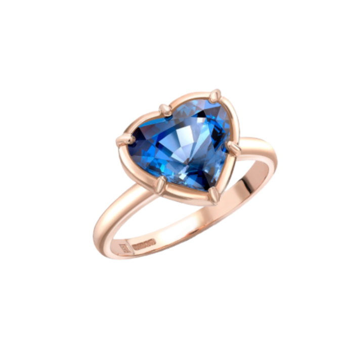 18kt Rose Gold Blue Love Heart Ring with Blue Spinel