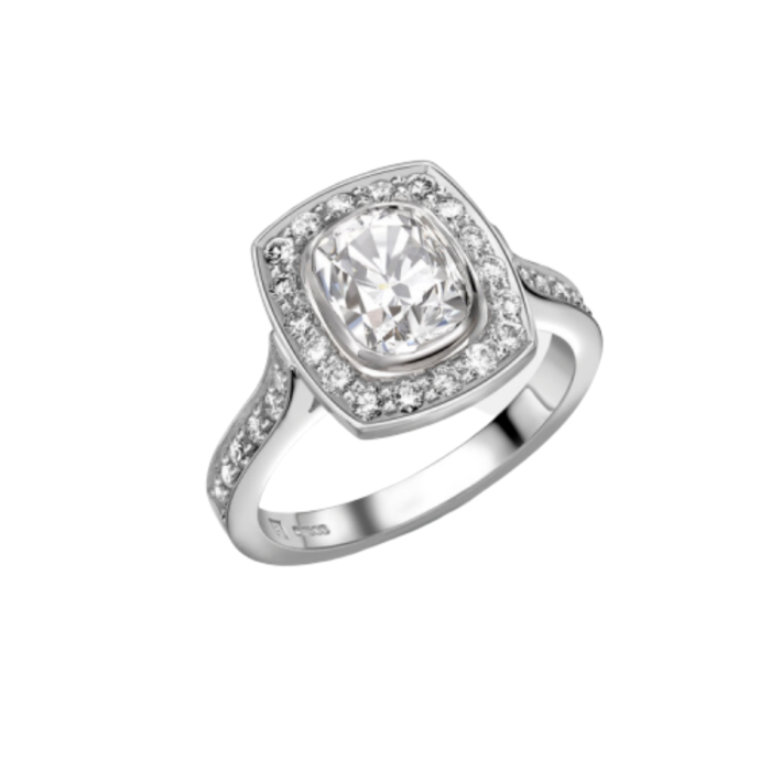 18kt White Gold Cushion Cut Saint Ring