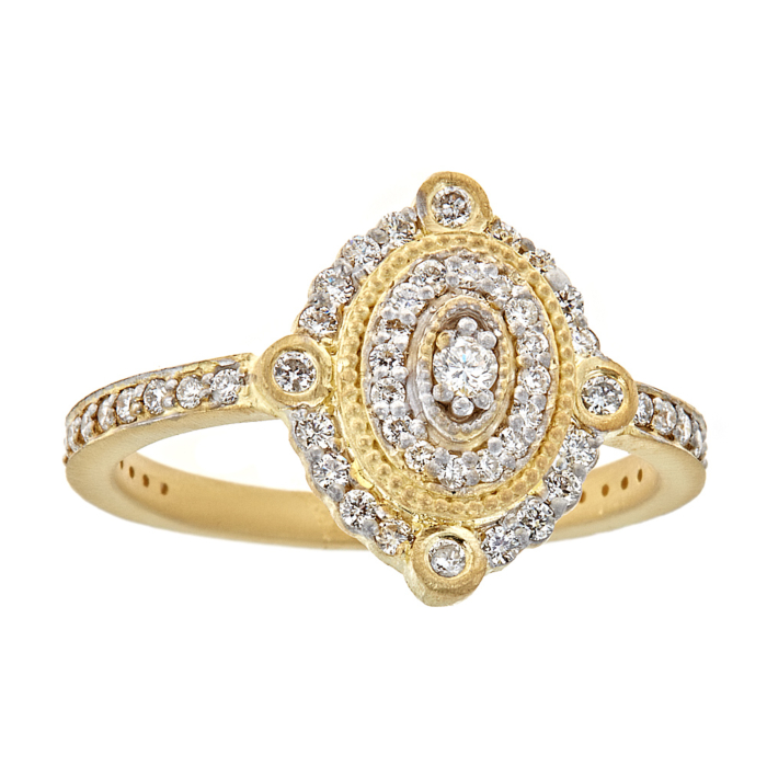 18kt Gold White Diamond Deco Ring