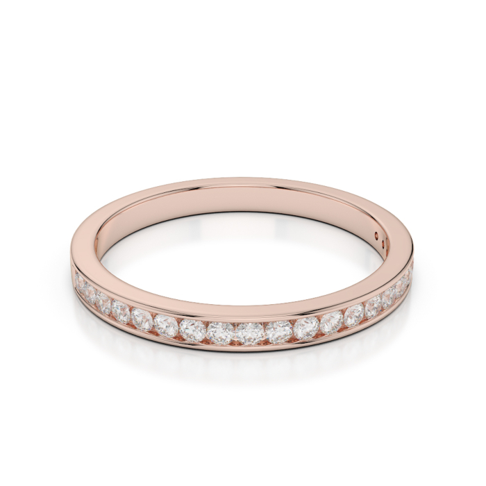 18kt Rose Gold Half Eternity Ring With Round-Cut, Channel-Set Diamonds I