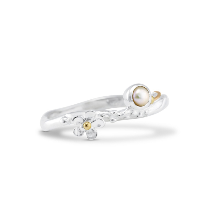 Sterling Silver Pearl & Flower Ring