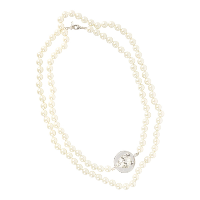 Long Glass Pearl Necklace Silver