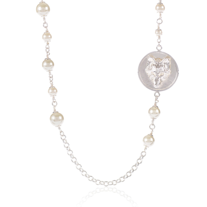 Wolf Disc Pearl Necklace Silver