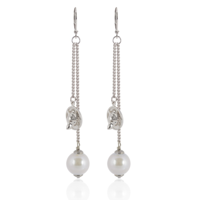 Wolf Disc Pearl Earrings Silver