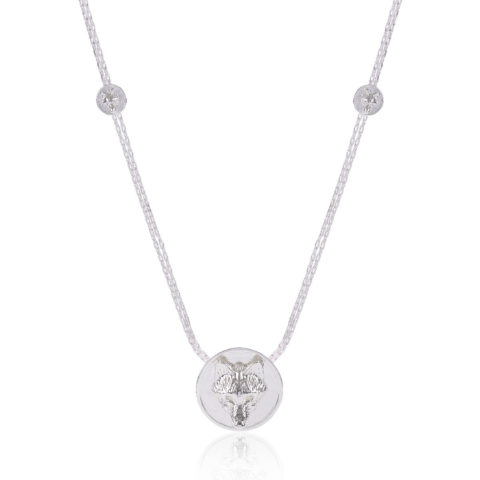 Wolf Multidisc Necklace Silver