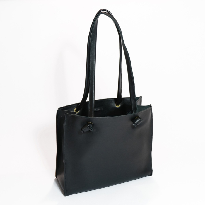 Small Leather Tote Bag | Black 'Grocery Bag'